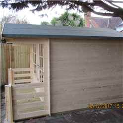 2.4m x 2.4m Premier Log Cabin With Fully Glazed Single Door With Single Window + Free Floor & Felt (19mm)