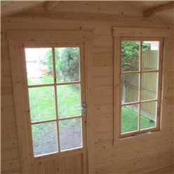 2.7m x 2.7m Premier Log Cabin With Fully Glazed Single Door + Single Window + Free Floor & Felt (19mm)
