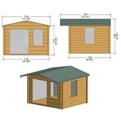 3.3m x 3m Premier Log Cabin With Half Glazed Double Doors and Single Window Front + Free Extra Side Window and Floor & Felt (19mm) (Show Site)