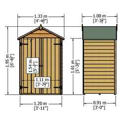 4ft x 3ft (1.21m x 0.96m) - Windowless - Pressure Treated Overlap Shed - Double Doors - Apex Roof - (10mm Solid OSB Floor)