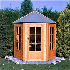 6ft x 7ft (1.87m x 2.16m) - Premier Pressure Treated Hexagonal Wooden Summerhouse - Single Door - 12mm T&G Walls & Floor