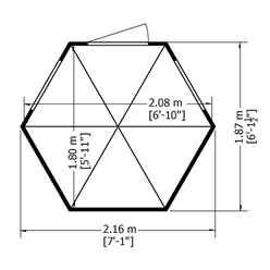 INSTALLED 6ft x 7ft (1.87m x 1.87m) - Premier Pressure Treated Hexagonal Wooden Summerhouse - Single Door - 12mm T&G Walls & Floor