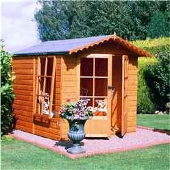 INSTALLED 7 x 7 (2.05m x 1.98m) - Premier Wooden Summerhouse - Pressure Treated - Double Doors - 12mm T&G Walls - Floor - Roof