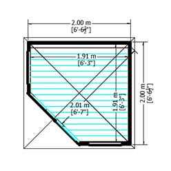 7ft x 7ft (2.16m x 2.16m) - Premier Corner Wooden Summerhouse - Double Doors -  Side Windows - 12mm T&G Walls & Floor