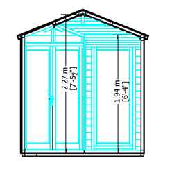 INSTALLED 7 x 7 (2.16m x 2.16m) - Premier Corner Wooden Summerhouse - Double Doors -  Side Windows - 12mm T&G Walls & Floor