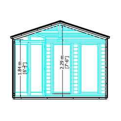 10ft x 10ft (3.16m x 3.16m) - Premier Corner Wooden Summerhouse - Double Doors - Side Windows - 12mm T&G Walls and Floor