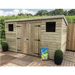 INSTALLED 12FT x 4FT Pressure Treated Tongue & Groove Pent Shed + Double Doors Centre + 2 Windows + Safety Toughened Glass - INCLUDES INSTALLATION