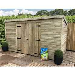 INSTALLED 12FT x 4FT Pressure Treated Windowless Tongue & Groove Pent Shed + Double Doors Centre - INCLUDES INSTALLATION