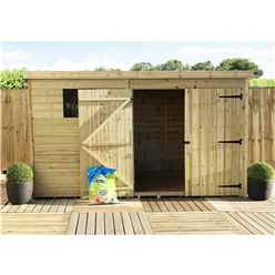 INSTALLED 10FT x 3FT Pressure Treated Tongue & Groove Pent Shed + Double Doors + 1 Window + Safety Toughened Glass - INCLUDES INSTALLATION