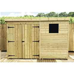 INSTALLED 10FT x 8FT Pressure Treated Tongue & Groove Pent Shed + Double Doors + 1 Window - INCLUDES INSTALLATION