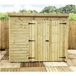 INSTALLED 7FT x 3FT Windowless Pressure Treated Tongue & Groove Pent Shed + Double Doors - INCLUDES INSTALLATION