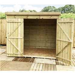 INSTALLED 8FT x 7FT Windowless Pressure Treated Tongue & Groove Pent Shed + Double Doors - INCLUDES INSTALLATION