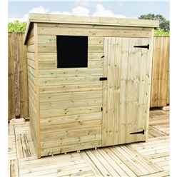 INSTALLED 5FT x 4FT Pressure Treated Tongue & Groove Pent Shed + 1 Window + Safety Toughened Glass + Single Door - INCLUDES INSTALLATION