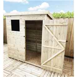 INSTALLED 5FT x 5FT Pressure Treated Tongue & Groove Pent Shed + 1 Window + Safety Toughened Glass + Single Door - INCLUDES INSTALLATION