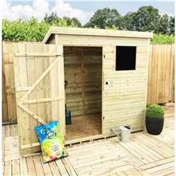 INSTALLED 6FT x 4FT Pressure Treated Tongue & Groove Pent Shed + 1 Window + Safety Toughened Glass + Single Door - INCLUDES INSTALLTION