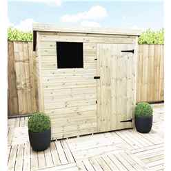 INSTALLED 6FT x 5FT Pressure Treated Tongue & Groove Pent Shed + 1 Window + Safety Toughened Glass + Single Door - INCLUDES INSTALLATION