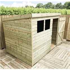 INSTALLED 7FT x 3FT Pressure Treated Tongue & Groove Pent Shed + 2 Windows + Single Door - INCLUDES INSTALLATION