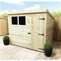 INSTALLED 7FT x 4FT Pressure Treated Tongue & Groove Pent Shed + 2 Windows + Safety Toughened Glass + Single Door - INCLUDES INSTALLATION
