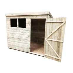 INSTALLED 8FT x 4FT Pressure Treated Tongue & Groove Pent Shed + 2 Windows + Single Door - INCLUDES INSTALLATION