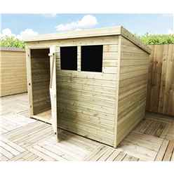 INSTALLED 8FT x 5FT Pressure Treated Tongue & Groove Pent Shed + 2 Windows + Single Door - INCLUDES INSTALLATION