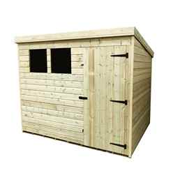 INSTALLED 8FT x 6FT Pressure Treated Tongue & Groove Pent Shed + 2 Windows + Single Door - INCLUDES INSTALLATION