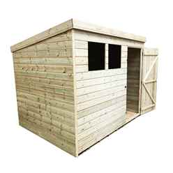 INSTALLED 8FT x 7FT Pressure Treated Tongue & Groove Pent Shed + 2 Windows + Single Door - INCLUDES INSTALLATION