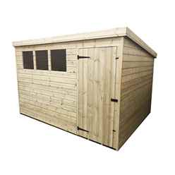 INSTALLED 10FT x 7FT Pressure Treated Tongue & Groove Pent Shed + 3 Windows + Single Door - INCLUDES INSTALLATION