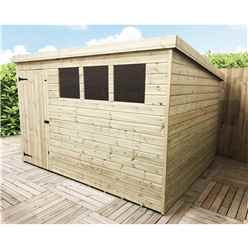 INSTALLED 10FT x 8FT Pressure Treated Tongue & Groove Pent Shed + 3 Windows + Single Door - INCLUDES INSTALLATION