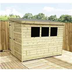 INSTALLED 7FT x 4FT Reverse Pressure Treated Tongue & Groove Pent Shed + 3 Windows + Safety Toughened Glass + Side Door - INCLUDES INSTALLATION