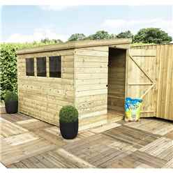 INSTALLED 7FT x 7FT Reverse Pressure Treated Tongue & Groove Pent Shed + 3 Windows + Safety Toughened Glass + Single Door (Please Select Left Or Right Panel for Door) - INCLUDES INSTALLATION