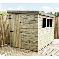 INSTALLED 8FT x 8FT Reverse Pressure Treated Tongue & Groove Pent Shed + 3 Windows + Safety Toughened Glass + Single Door (Please Select Left Or Right Panel for Door) - INCLUDES INSTALLATION