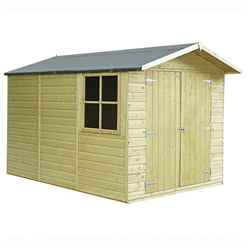 10ft x 7ft (2.99m x 2.15m) - Pressure Treated Tongue And Groove - Apex Garden Wooden Shed - Double Doors - 2 Opening Windows - 12mm Tongue And Groove Floor
