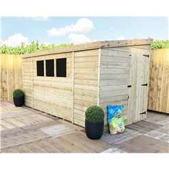 INSTALLED 10FT x 8FT Reverse Pressure Treated Tongue & Groove Pent Shed + 3 Windows + Safety Toughened Glass + Side Door - INCLUDES INSTALLATION