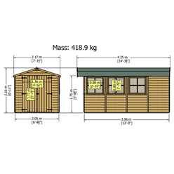 13ft x 7ft (3.96m x 2.15m) - Pressure Treated Tongue And Groove - Apex Garden Wooden Shed - Double Doors - 3 Opening Windows - 12mm Tongue And Groove Floor