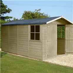 INSTALLED 13ft x 7ft (3.96m x 2.15m) - Pressure Treated Tongue And Groove - Apex Garden Wooden Shed - Double Doors - 3 Opening Windows - 12mm Tongue And Groove Floor - INCLUDES INSTALLATION