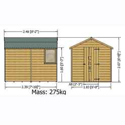 INSTALLED 8ft x 6ft (2.39m x 1.83m) - Pressure Treated Tongue And Groove - Apex Workshop - 1 Opening Window - Double Doors - 11mm OSB Solid Board Floor - INCLUDES INSTALLATION