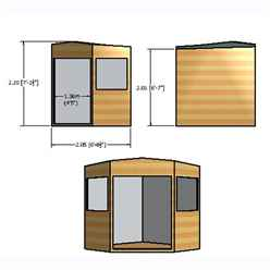 7ft x 7ft (2.09m x 2.09m) - Pressure Treated Tongue And Groove - Corner Shed - 2 Opening Windows - Double Doors - 12mm Tongue And Groove