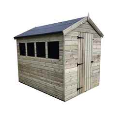 INSTALLED 7FT x 5FT PREMIER PRESSURE TREATED TONGUE & GROOVE APEX SHED + 3 WINDOWS + HIGHER EAVES & RIDGE HEIGHT + SINGLE DOOR - INCLUDES INSTALLATION