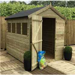 INSTALLED 7FT x 6FT PREMIER PRESSURE TREATED TONGUE & GROOVE SINGLE DOOR APEX SHED + 3 WINDOWS + SAFETY TOUGHENED GLASS + HIGHER EAVES & RIDGE HEIGHT - INCLUDES INSTALLATION