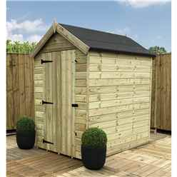 INSTALLED 4FT x 4FT Windowless Pressure Treated Tongue & Groove Apex Shed + Single Door - INCLUDES INSTALLATION