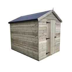 INSTALLED 8FT x 5FT PREMIER WINDOWLESS PRESSURE TREATED TONGUE & GROOVE APEX SHED + HIGHER EAVES & RIDGE HEIGHT + SINGLE DOOR - INCLUDES INSTALLATION