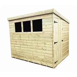 INSTALLED 8FT x 5FT Pressure Treated Tongue & Groove Pent Shed + 3 Windows + Safety Toughened Glass + Side Door INCLUDES INSTALLATION