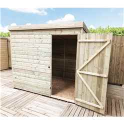 INSTALLED 7FT x 4FT Windowless Pressure Treated Tongue & Groove Pent Shed + Single Door INCLUDES INSTALLATION