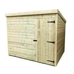 INSTALLED 8FT x 5FT Windowless Pressure Treated Tongue & Groove Pent Shed + Single Door INCLUDES INSTALLATION