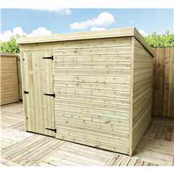 INSTALLED 8FT x 7FT Windowless Pressure Treated Tongue & Groove Pent Shed + Single Door INCLUDES INSTALLATION