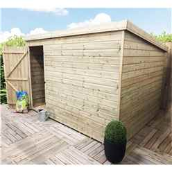 INSTALLED 10FT x 6FT Windowless Pressure Treated Tongue & Groove Pent Shed + Single Door INCLUDES INSTALLATION