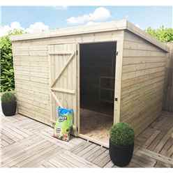 INSTALLED 10FT x 8FT Windowless Pressure Treated Tongue & Groove Pent Shed + Single Door INCLUDES INSTALLATION