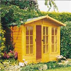 INSTALLED 10ft x 7ft (2.97m x 2.05m) - Premier Wooden Summerhouse - Single Doors - 12mm T&G Walls - Floor - Roof INSTALLATION INCLUDED