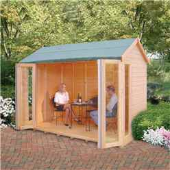 INSTALLED 10ft x 8ft (2.99m x 1.79m) - Premier Wooden Summerhouse - Bifold Doors - 12mm T&G Walls - Floor - Roof INSTALLATION INCLUDED