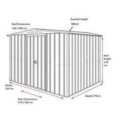8ft x 6ft Aluminium White Apex Metal Shed (2.34m x 1.75m)